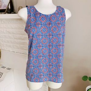 J. Crew Open Back Blue & Red Mosaic Top